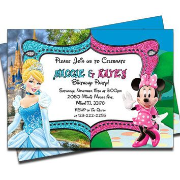 Cinderella and Minnie Mouse - Double Birthday Invitations