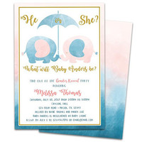 Elephant Gender Reveal Baby Shower Invitations - He or She Baby Shower - Elephant Pink or Blue - Boho Elephant Boy or Girl Invites Gold