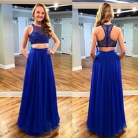High Neck Sleeveless Prom Dress,Blue Prom Dresses,Long Evening Dress