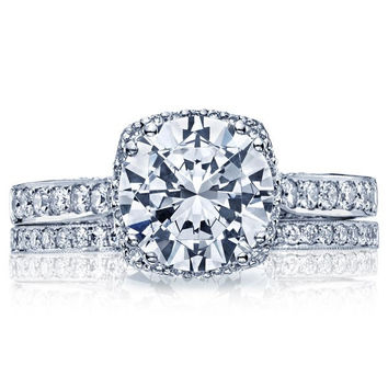 2.12ct H-SI1 18kt White Gold Halo Round Diamond Engagement Ring Tacori JEWELFIRME BLUE GIA certified