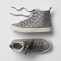 Metallic Heart Hi Top Sneakers