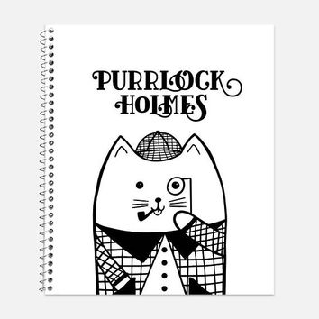 Purrlock Holmes Notebook, Waterproof Cover, Journal, Funny Sherlock Journal, Back to School, Kitty Cat Notebook, College Ruled