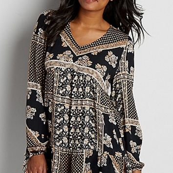 lightweight patterned tunic top | maurices