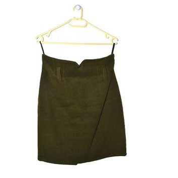 Vintage 80s Olive Green Wool Skirt High Waisted Mini Bodycon Pencil 1980s Womens Winter Clothing Medium M