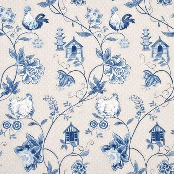 Baker Lifestyle Fabric PP50341.2 Bantam Toile Blue