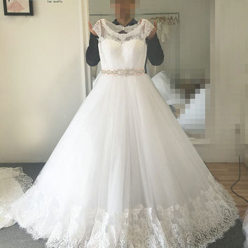 French Lace Wedding Dress With Back Lace Up New Model Real Photos Wedding Dress