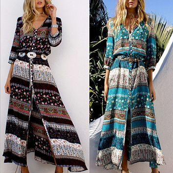 Fashion Multicolor Retro Print  V-Neck Long Sleeve Row Buckle Cardigan Maxi Dress
