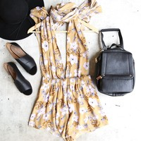 waze multi-wear romper - floral/tan