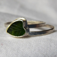 Carved Green Jade Leaf and Sterling Silver Stacking Rings (Set of 2)