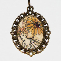 Daisy Fairy Necklace,  Art Nouveau, Fairy Jewelry, Bohemian, Flower Fairy, Oval Pendant