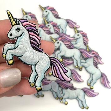 Unicorn Patch - Iron On - Embroidered Applique - Pastel