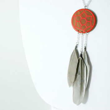 Hand-Painted Wooden Dreamcatcher Necklace in Neon Red