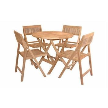 "Anderson Teak 31"" Windsor Round Folding Picnic Table Set With 4 Chairs"
