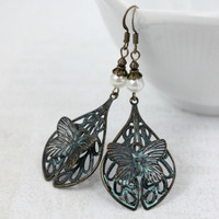 Dark Antique Gold Butterfly Teardrop Dangle Earrings with Mint Green Patina and White Faux Pearls - Vintage Style Jewelry - Ready to Ship
