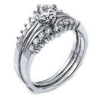 Christina: 1.04ct Russian Ice on Fire CZ Wedding Ring Set with Ring Guard 925 Silver, 3101B