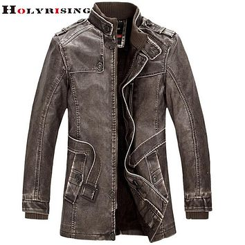 Men leather jacket men clothing jacket leather coat cultivate one's stand collar washed