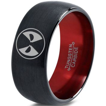 Deadpool Inspired Red Chromacolor Black Dome Cut Tungsten Ring