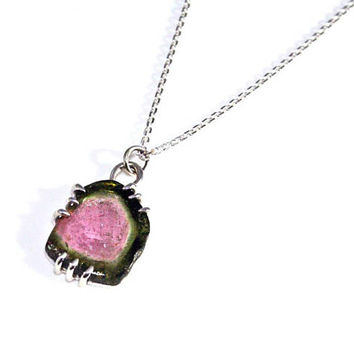 Watermelon Tourmaline Necklace, Sterling Silver, Pink and Green Tourmaline Pendant, Watermelon Tourmaline Slice