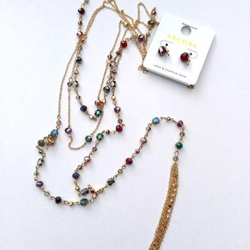 Colorful Delicate Beaded Layer Necklace & Earrings Set