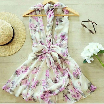 CUTE DEEP V SHOW BODY HOT FLORAL DRESS