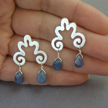 Sterling Silver Curvy Earrings with Blue Kyanite Drops - Cloud Earrings - Curly Spiral Earrings