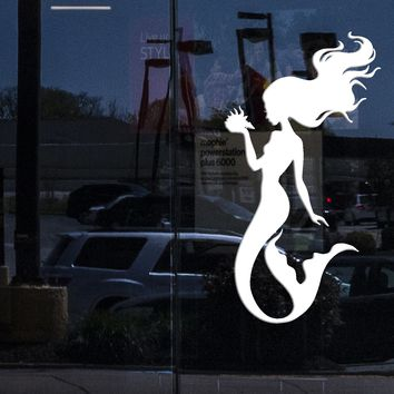 Window Vinyl Wall Decal Silhouette Beautiful Mermaid Shell Stickers (2278igw)