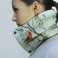 NECK WARMER / SCARF (birds) - ultra light, warm and compact - filled with goose down feathers -  - one size (adjustable)