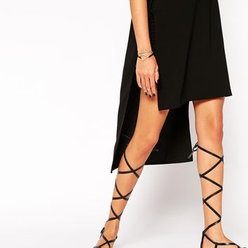 ASOS FAR AWAY Leather Lace Up Flat Sandals