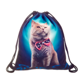 Drawstring Backpack in cat man pattern in navy color for Cinch bag