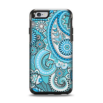 The Vibrant Blue and White Paisley Design  Apple iPhone 6 Otterbox Symmetry Case Skin Set