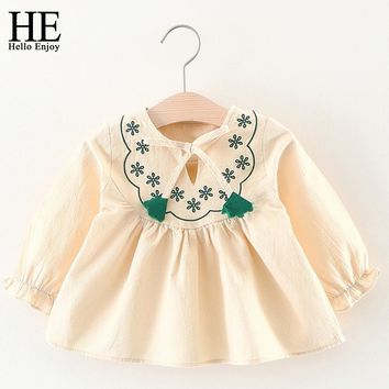 Kids dresses for girls christening gown Spring Autumn Long Sleeve Flowers Embroidery Infant Party Dresses