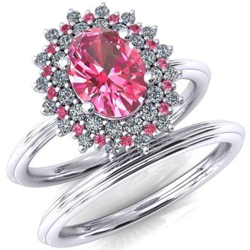 Eridanus Oval Lab-Created Pink Sapphire Cluster Diamond and Pink Sapphire Halo Wedding Ring ver.1