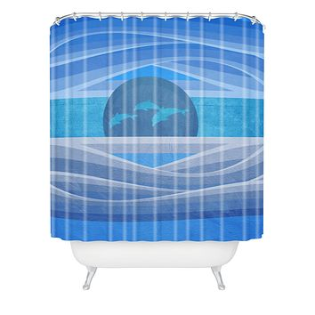 Viviana Gonzalez Dolphins Love Shower Curtain