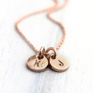 Rose Gold Personalized Necklace / Two Initials Hand Stamped Coin Discs Monogram Jewelry