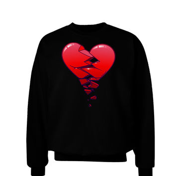 Crumbling Broken Heart Adult Dark Sweatshirt by