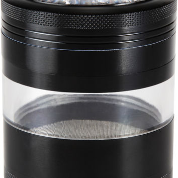 "Large Herb Grinder - Mega Crusher - 2.5"" Clear Top (Black)"