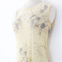 Vintage Sheer Beaded Dress. SM MED. Pale Yellow, Silver Sequin // 20s Style - Swinger, Flapper. Summer Spring Dress. Cocktail/Club Clothing