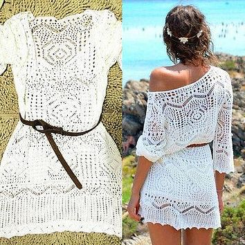 New Arrival Solid White lace Cover ups Crochet Women Beach Dress Sexy Lace Crochet Knit Translucent  Hollow Beachwear Dress
