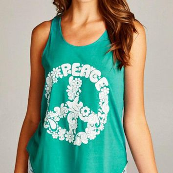 Peace Sign Tank Top in Groovy Green