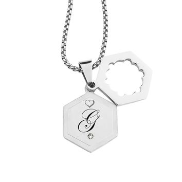 Double Hexagram Initial Necklace with Cubic Zirconia by Pink Box - G