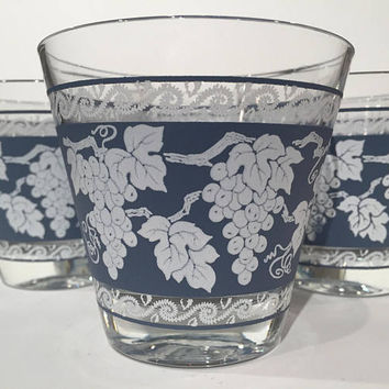 Anchor Hocking Grape Tumblers Set of 6, Vintage Grape Motif Rocks Glasses| Old Fashioned Glasses