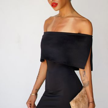 Selah Off The Shoulder Dress - Black