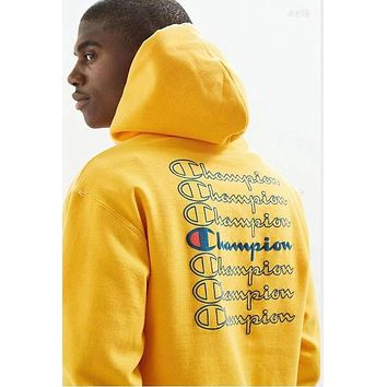 Champion Popular Women Men Comfortable Long Sleeve Hooded Embroidery Print Sweater Top Sweatshirt(4-Color) Yellow I-CP-ZDL-YXC