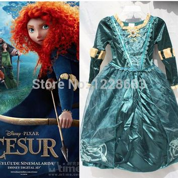 Free shipping ,Children Brave Princess Merida Dress Kids Cosplay, Halloween Party Dress Up Girls Merida Costume