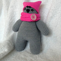 pink pussyhat cat, crochet cat plushie, amigurumi stuffed toy, baby cat, handmade toy, cotton yarn pink cat, gift for boy or girl