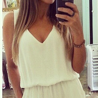 White Lace V-Neck Cutout-Back Romper