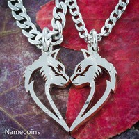 Cat necklaces making a heart, Couples set, Hand cut coin