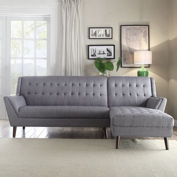 Acme 53850 2 pc Watonga light gray linen upholstered sectional sofa with chaise