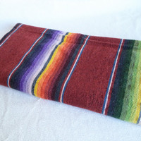 Mexican serape rug/ vintage woven rug/ runner/ bohemian decor/ burgundy striped woven rug/ southwestern decor