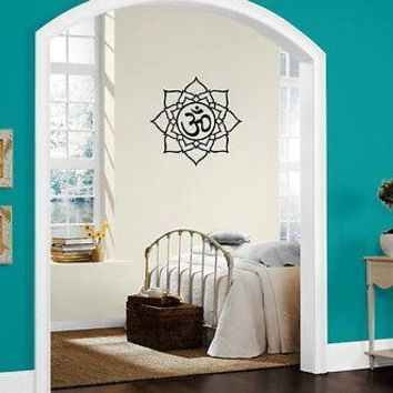 Yoga Lotus Symbol Om Sound Spiritual Sanskrit Wall Mural Vinyl Art Sticker Unique Gift M534